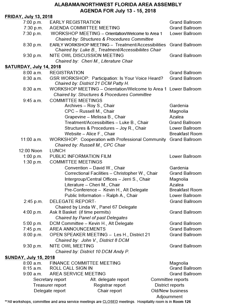 area agenda for july 2018